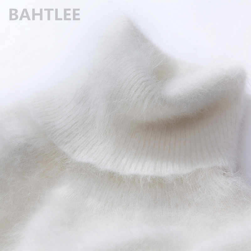 BAHTLEE, зимний женский джемпер из ангоры, водолазка, пуловеры, вязаный свитер, длинный стиль, длинный рукав, сохраняющий тепло, белый