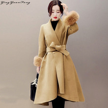 YingYuanFang Fashion Asymmetric V-Neck Long Wool Coat with Fox hair sleeve and belt