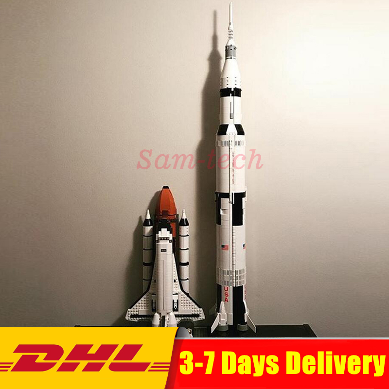 Clone 10231 21309 LEPIN 16014 Space Shuttle Expedition+ 37003 Apollo Saturn V Launch Vehicle Model Building Blocks Bricks Toys lepin 37003 creative series apollo saturn launch vehicle set building block bricks toys 1969pcs kids gifts 21309