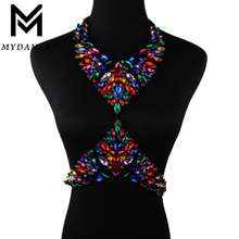 MYDANER New 11 Colors Luxury Crysatl Rhinestone Jewelry Women Wedding Party Sexy Chain Necklace Summer Bikini