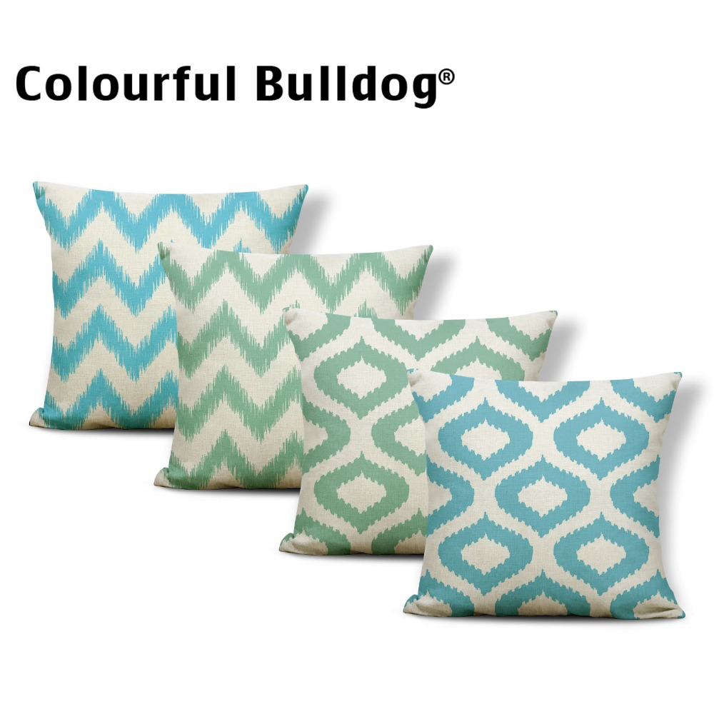 Geometry Green Cushions Zigzag Pillow Covers Quatrefoil Cartoon Backyard Baby Birth Gifts Pillowslip Covers 45Cm Burlap Colorful