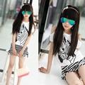 2016 New Girls Clothing Sets Summer Zebra Pattern Off Shoulder T-shirt Top & Striped Shorts 2 pcs for Kids Girls Clothes Cotton