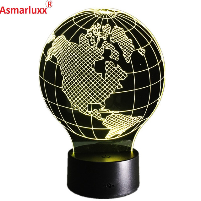 USA Earth Map Light 3D LED Lamp Featuring 3D Wire Frame Images