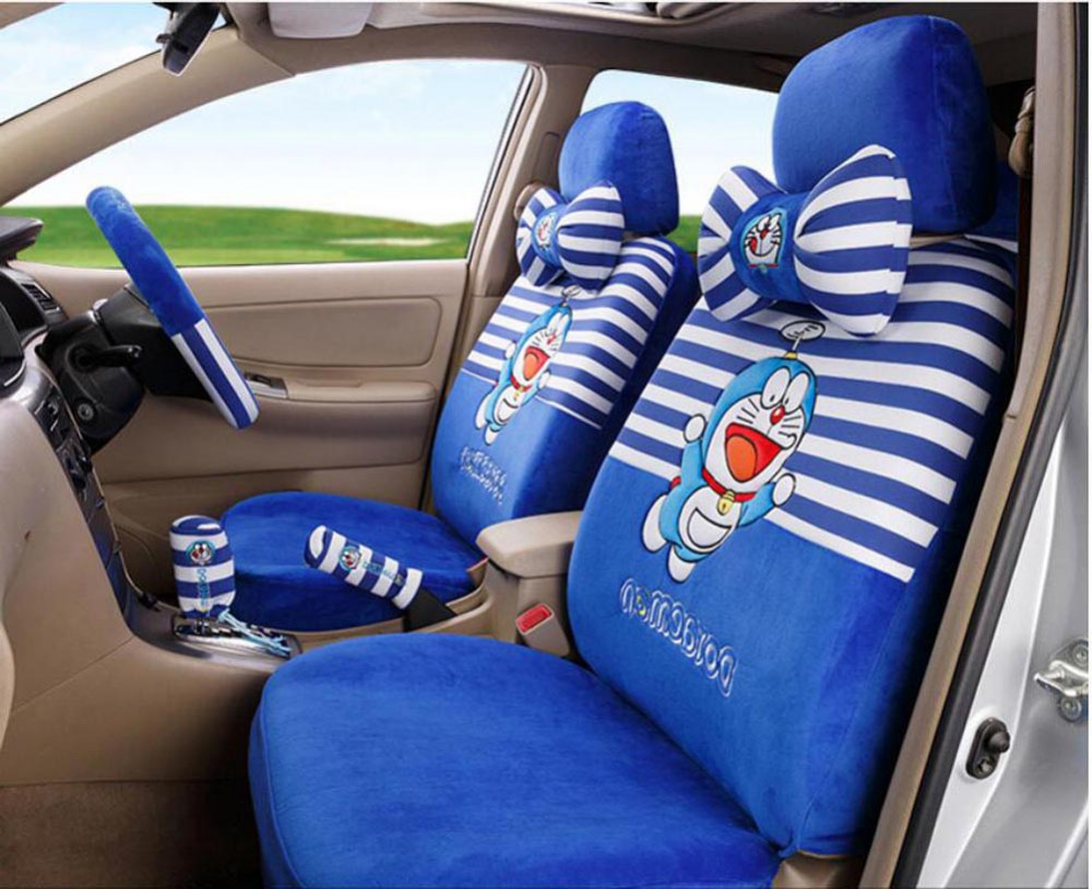 Online Shop Cute Winter Short Plush Cartoon Doraemon Car Seat Covers Pad Universal Interior Accessories