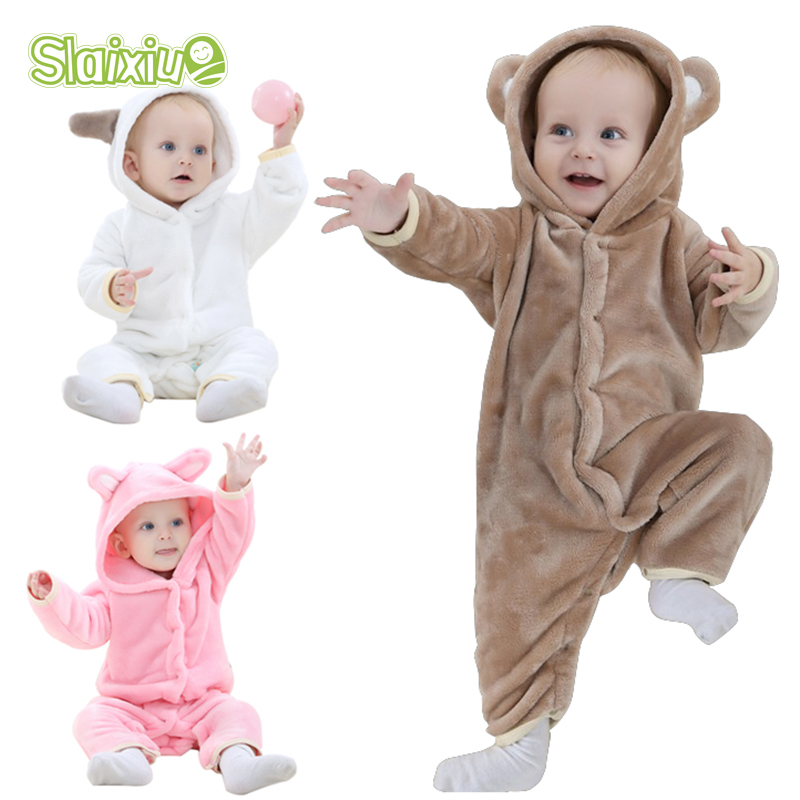 b2d8864fb Flannel Baby Romper Kawaii Warm Boys Girls Hooded Babys Jumpsuit For ...