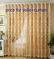 good quality Fashion jacquard cutout voile+curtain finished product window screens/yarn/ gauze for living room bedroom