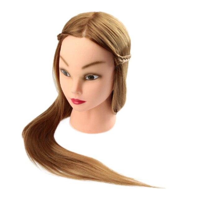 Yeni Yüksek Kaliteli Salon Kozmetoloji Insan Saçı Kuaförlük Kafa Kalıp Uygulama Eğitimi baş mankeni Aracı Saç Bakımı Altın