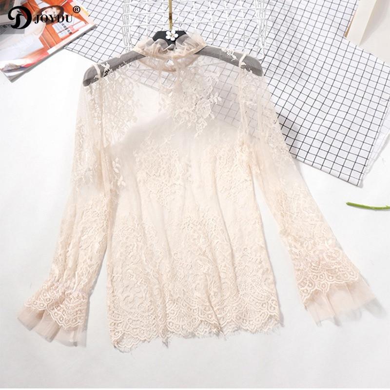 JOYDU Chic Lace Shirts Blouses Korean Fashion Flare Sleeve Womens Shirt 2018 New Transpa ...