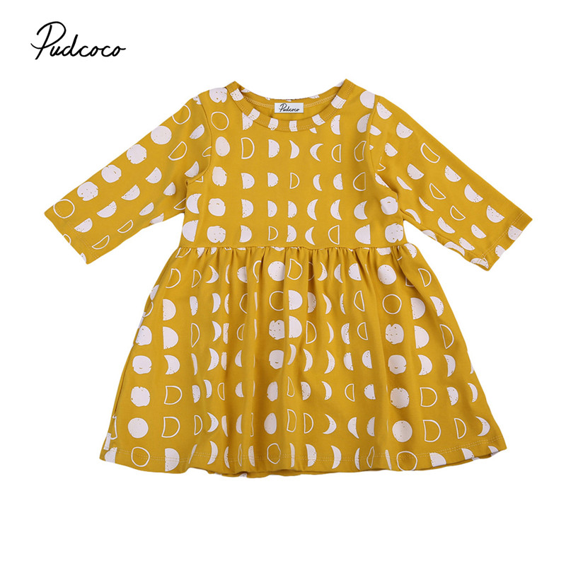 Princess Toddler Baby Kids Girls Dress Yellow Long Sleeve Autumn Round Neck Tulle Tutu Moon Dresses Party Dresses Sundress toddler kids baby girls boho long foral princess party dress prom beach maxi sundress print lovely casual long sleeve dresses