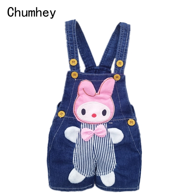 1 2 3 4T Baby Clothing Boys Girls Jeans Overalls Shorts Toddler Kids Denim Rompers Cute Cartoon Bebe Pants Summer Bib Clothes 3