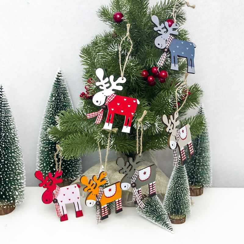 1 Pcs Christmas Tree Decor Wood Painted Elk Pendant Xmas Party Decor Deer Pendants Christmas Decoration for Home