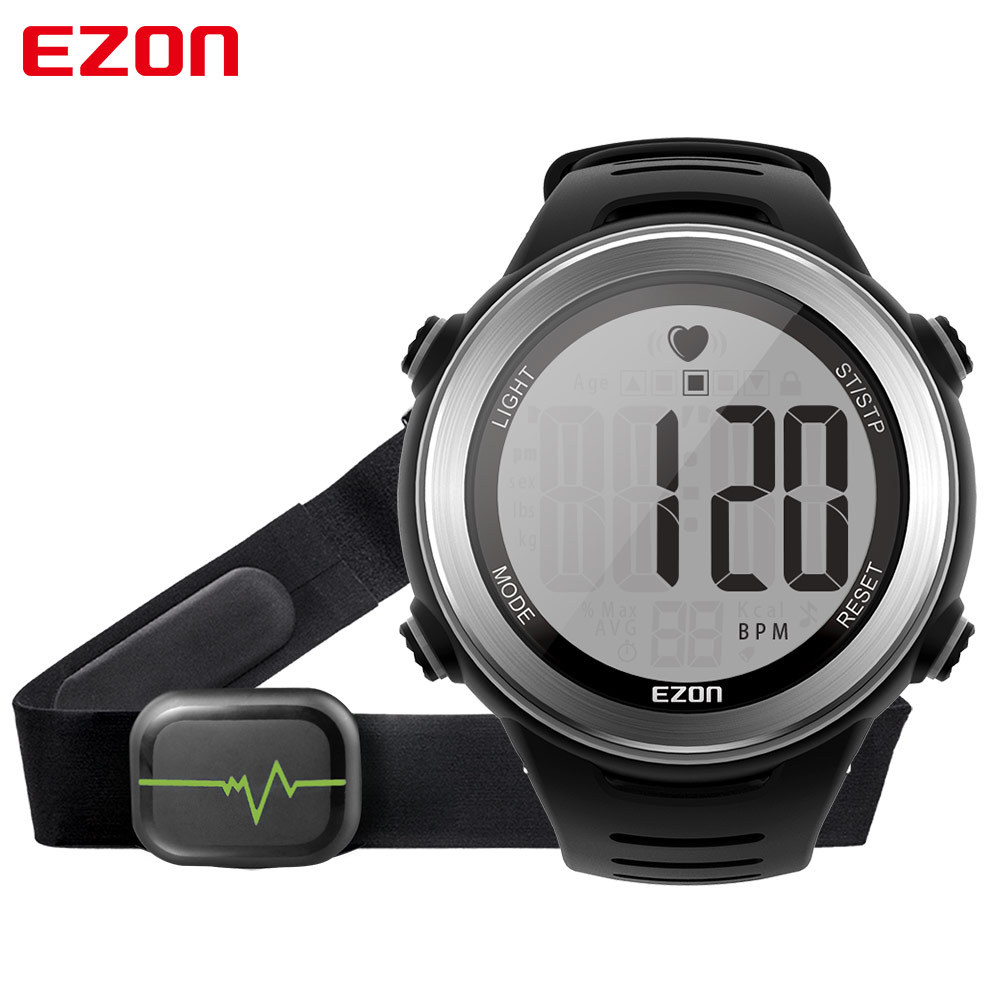 Black Sport Heart Rate Monitor Digital Watch For Men Women Clock Outdoor Running Sports Alarm Stopwatch Watches with Chest Strap ezon pedometer optical sensor heart rate monitor alarm calories men sports watches digital watch running climbing wristwatch