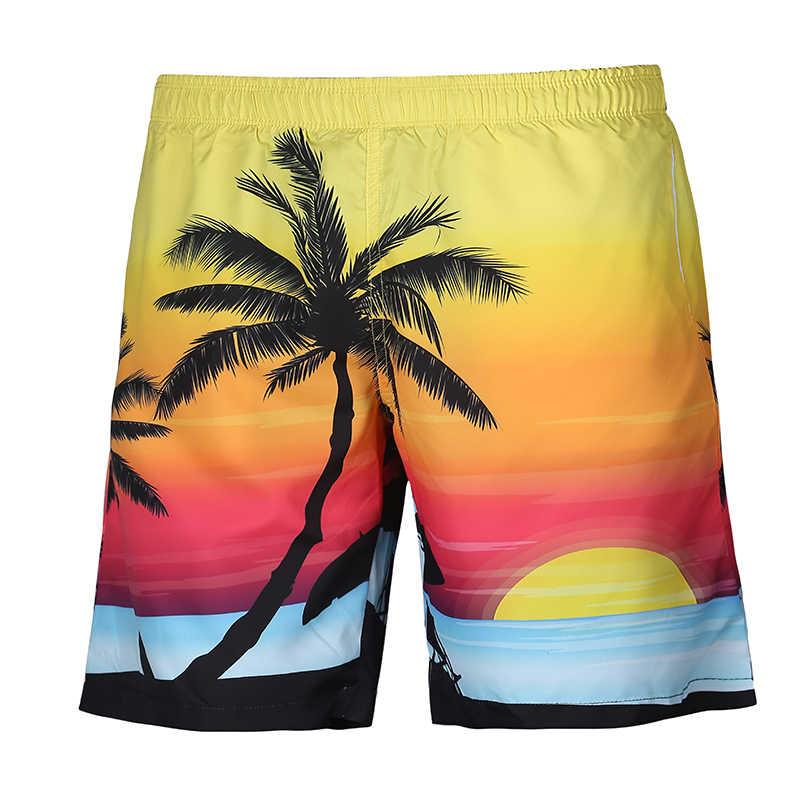 Herren Shorts Strand Sommer Boardshort Kurze Homme 3D Sunset Baum Casual Bord Kurze Marke Kleidung