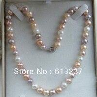 チャーミング多色あこや淡水7-8ミリメートル天然真珠ビーズdiyのネックレスを作る18インチaaa MY4295