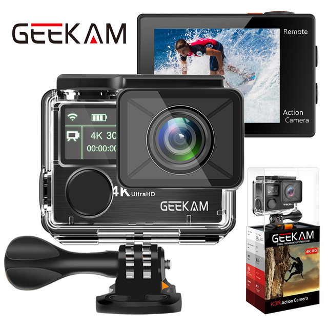 "GEEKAM Action Camera K3R/K3 Ultra HD 4K/30fps 20MP WiFi 2.0"" 170D Dual Screen Underwater Waterproof Helmet Bike Sports Video Cam"