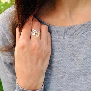 Image 4 - Lotus Fun – Bague à structure en nid dabeille, en argent sterling 925 et or 18 k, de styliste naturel, bijou fin, accessoire tendance pour les dames