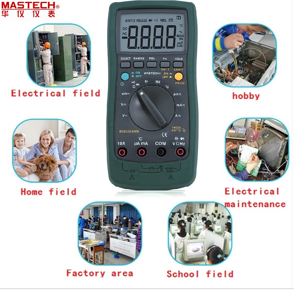 Mastech MS8226 DMM 3 3/4 Digital Multimeter Auto Range Capacitance Resistance Temperature Backlight & PC interface cable digital multimeter mastech ms8264 dmm temperature capacitance tester multimeter handheld ammeter multitester