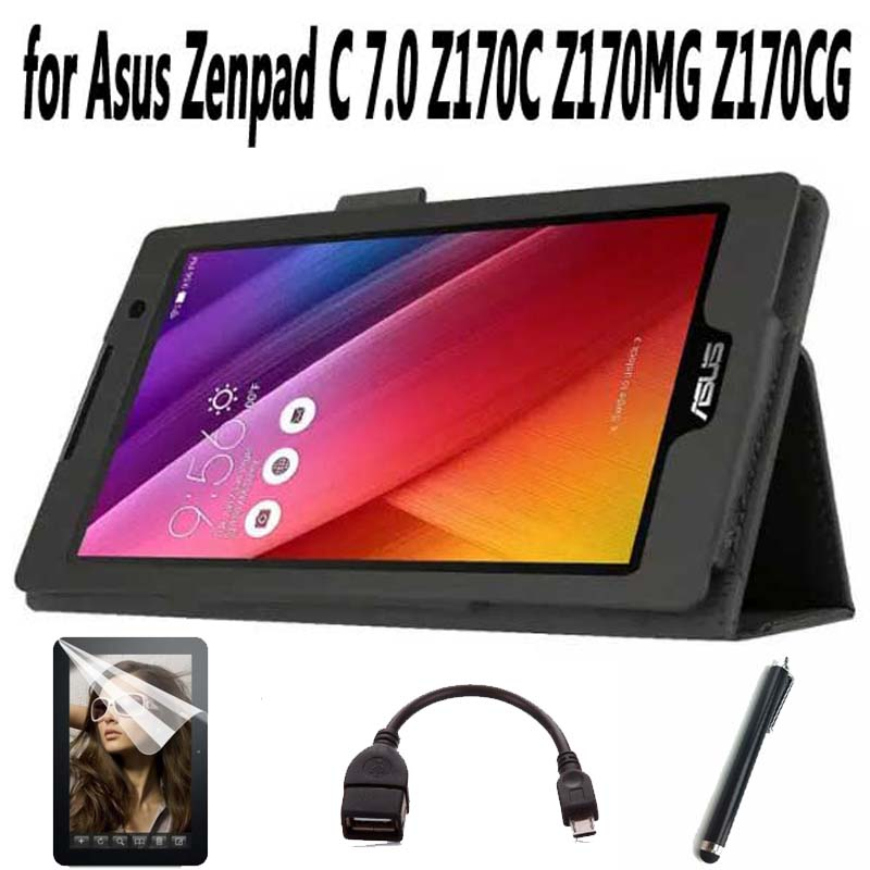HOT! fashion Magnet Stand pu Leather Cover Case for Asus Zenpad C 7.0 Z170C Z170MG Z170CG Tablet + Screen Protectors +Stylus+OTG