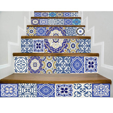 цена на 3D Stair Stickers Simulation Blue And White Porcela Stairway Sticker Flower Tile Floor Wall Decor Sticker Living Room Decoration