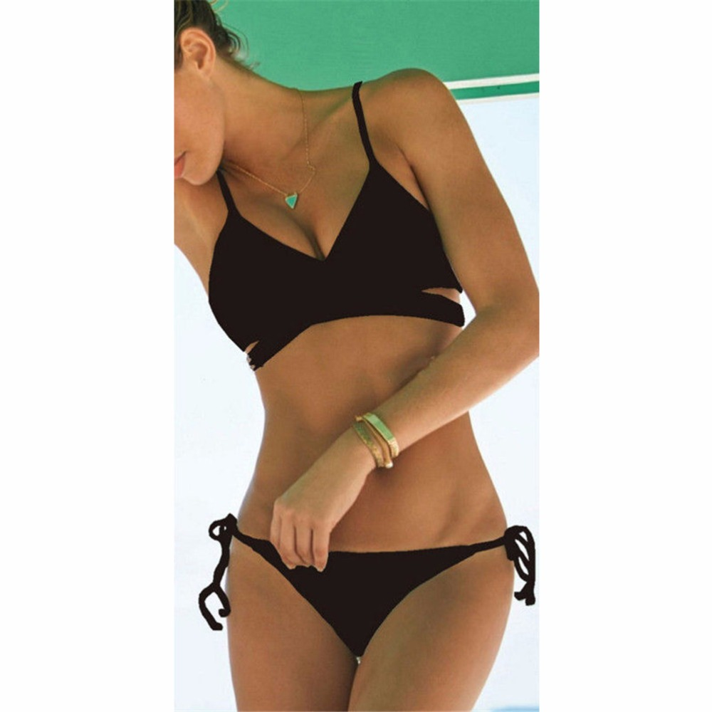 818cae9010 Women Push Up Padded Bra Bandage Bikini Set Swimsuit Triangle Swimwear  Bathing Suit 1PC-in Bikinis Set from Sports   Entertainment on  Aliexpress.com ...