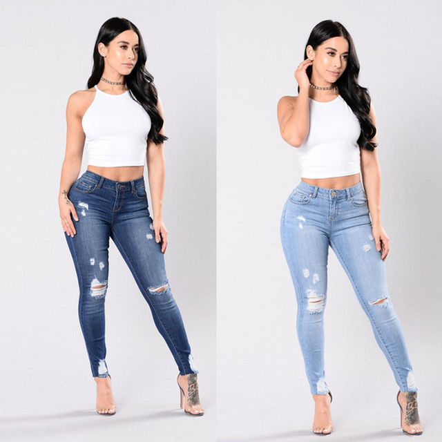 2101d048857 High Waisted Skinny Fit Denim Pants Stretch Womens Jeans Ripped Knee ...