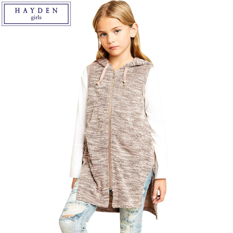 HAYDEN Girls Zipper Hooides 2018 Spring Teenage Girls Sleeveless Outfits Brand Clothing for Children Age 7 to 14 Years Old 2018 baby girls red cardigan floral design cute spring coat for children teenage spring clothes age 456789 10 11 12 years old