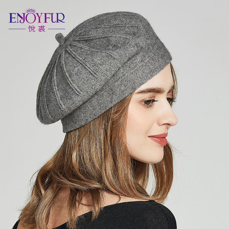 a2526827062 Dropwow ENJOYFUR Winter Berets Hats For Women Autumn Knitted Wool ...