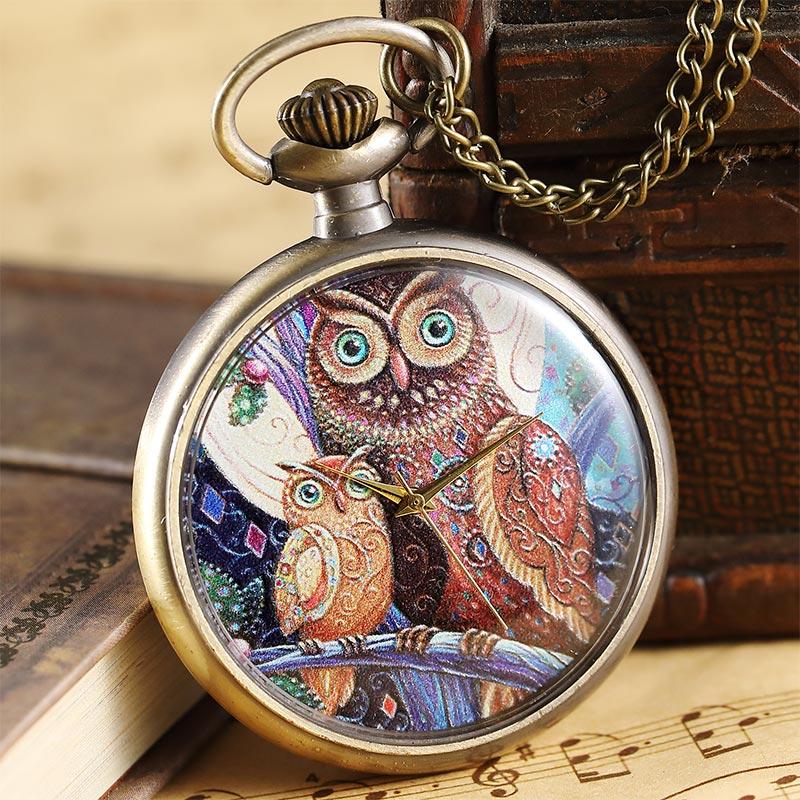 Vintage Bronze Cute Owl Quartz Pocket Watch Chain Pendant Retro Fob Watch Necklace Children Boys Gift