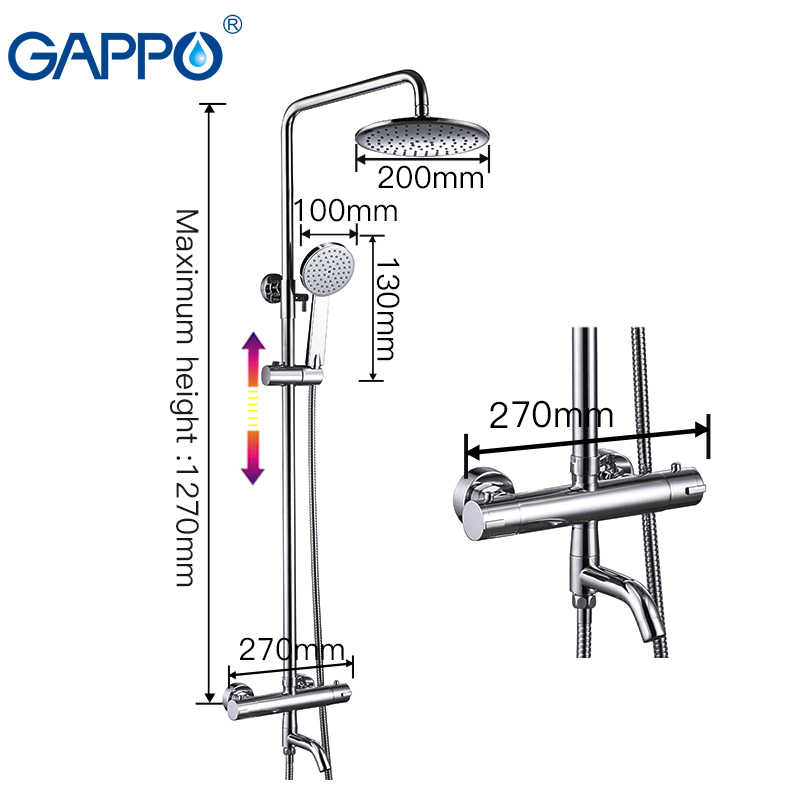 GAPPO Bathtub Faucets thermostat shower thermostatic mixing valve bath shower rainfall shower thermostatic shower faucet