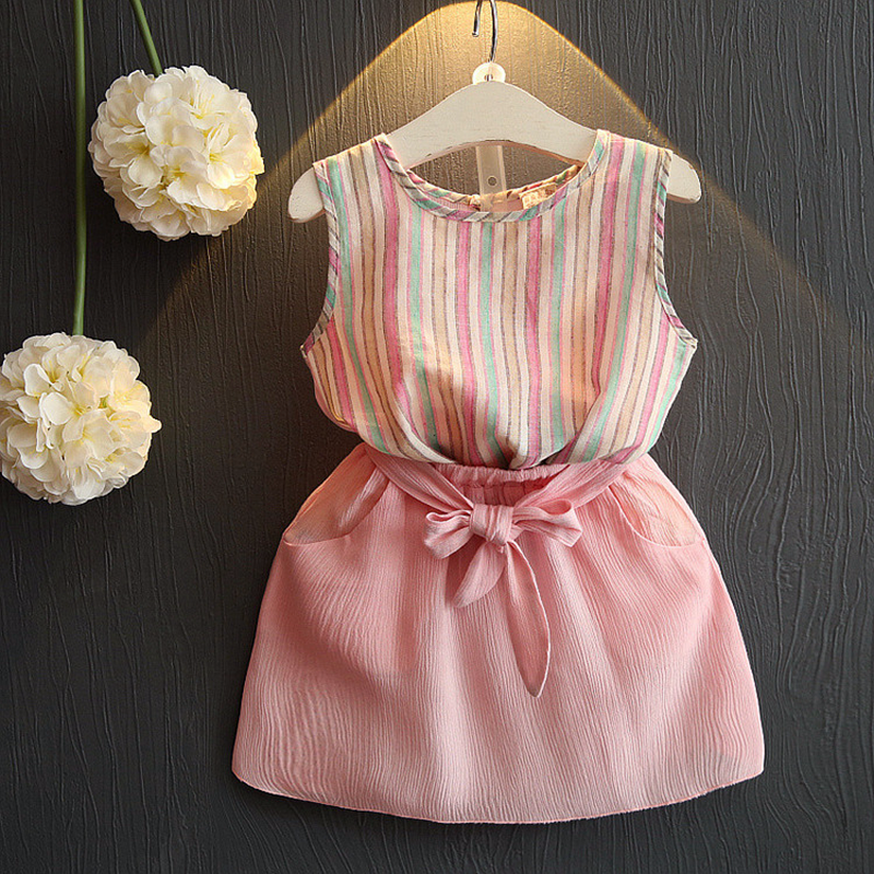 2018 New Style Toddler Girls Summer Clothing Sets 2PCS Baby Girl Striped Vest Top + Short Skirt Kids Clothes Suit Child Cloth
