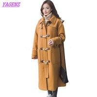 Plus rozmiar XL-4XL Jesień Zima Wełniana Kurtka Kobiet Koreański Spawów długi płaszcz Z Wełny Tłuszczu siostra Rogi klamra Płaszcz koloru Wielbłąda 359