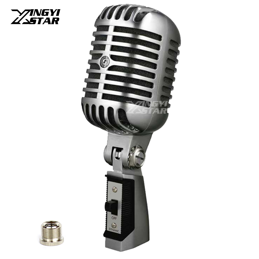 Professional Metal Classic Retro Dynamic Wired Microphone For Computer Karaoke Mixer Audio KTV DJ Stage Show Vintage Style Mic professional switch dynamic wired microphone stand metal desktop holder for beta 58 bt 58a ktv karaoke mic microfone audio mixer
