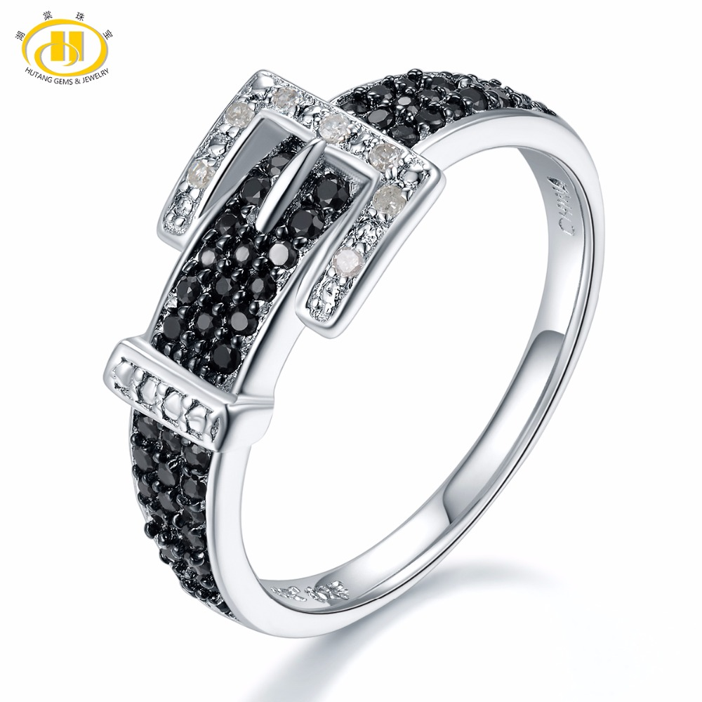 Hutang Diamond Wedding Rings Natural Gemstone Spinel 925 Sterling Silver Belt Shape Ring Fine Stone Jewelry