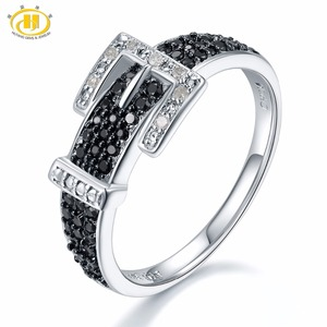 Image 1 - Hutang יהלומי חתונת טבעות טבעי חן ספינל 925 סטרלינג כסף חגורת צורת טבעת בסדר אבן תכשיטי עבור נשים בנות חדש