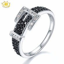 Hutang Diamond Jewelry Natural Gemstone Spinel 925 Sterling Silver Belt Shape Ring Fine Stone Jewelry For Gift New Arrival