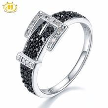 Hutang Diamond Wedding Rings Natural Gemstone Spinel 925 Sterling Silver Belt Shape Ring Fine Stone Jewelry for Women Girls New