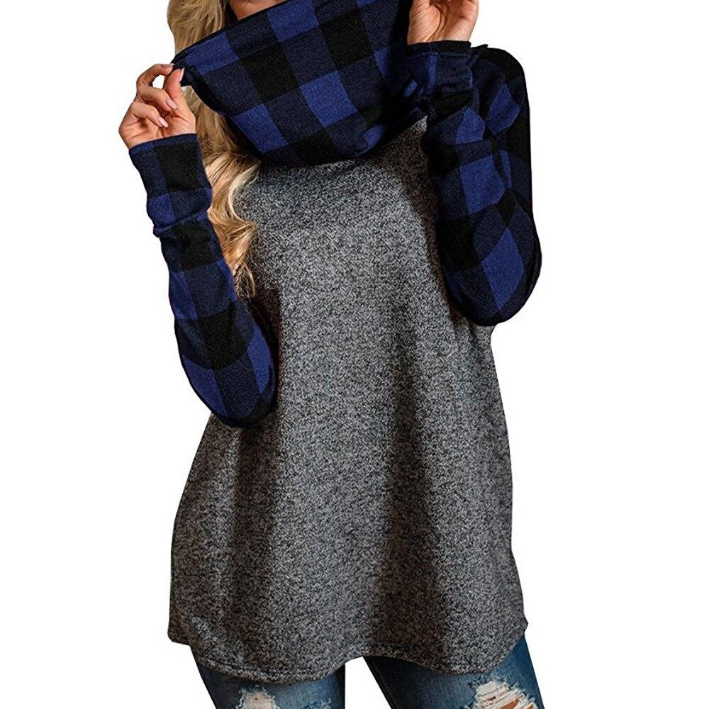 Lattice Long Sweatshirts Sacrf Collar Long Sleeve Plaid womens casual patchwork pullover Sweatshirt Tops felpe donna EY11