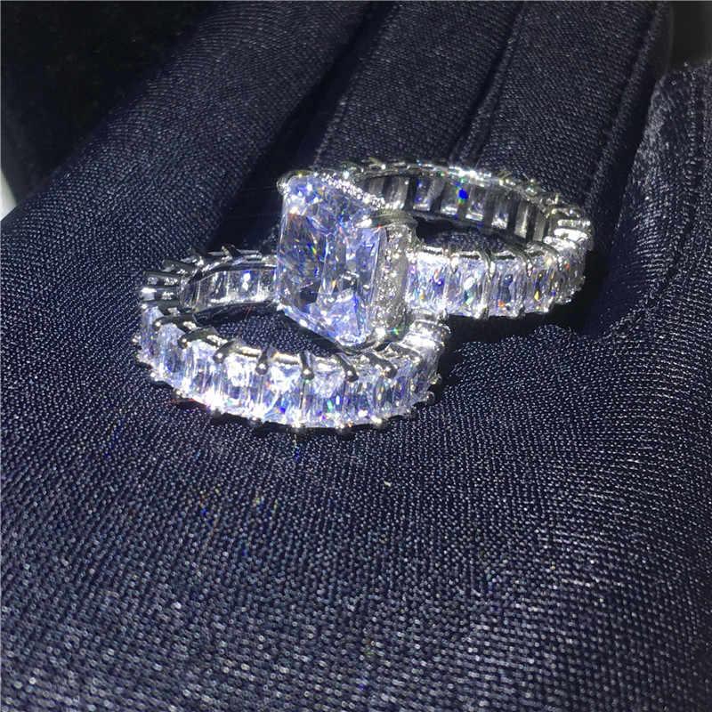 Choucong Promise Ring Define 925 Sterling Silver 20ct Claro AAAAA cz do corte Da Princesa Anéis de Noivado Wedding Band Para Mulheres Dos Homens presente
