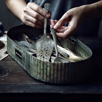 Stripe Vintage Antique Oval Zinc Serving Trays