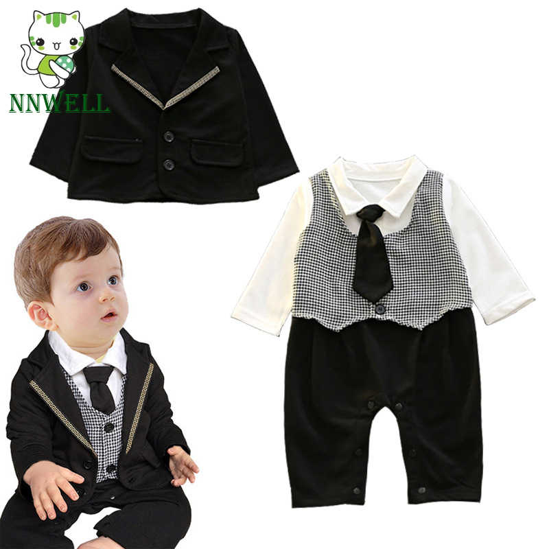 024e2f057ba5 NNW Baby Boy Gentleman Jersey Suit With Tie long Sleeve Small Wedding Suit  Tuxedo Christening Formal