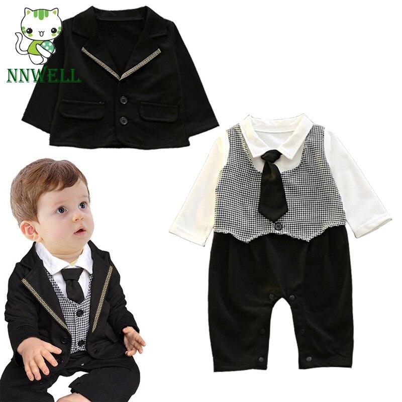 Baby Jungen Strampler Gentleman Spielanzug Baumwolle Overalls Formelle Outfits