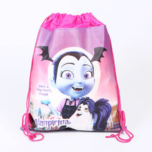 1PCS Vampirina Theme Kids Girls Favors Non-woven Fabric Baby Shower Backpack Happy Birthday Party Mochila Drawstring Gifts Bags(China)