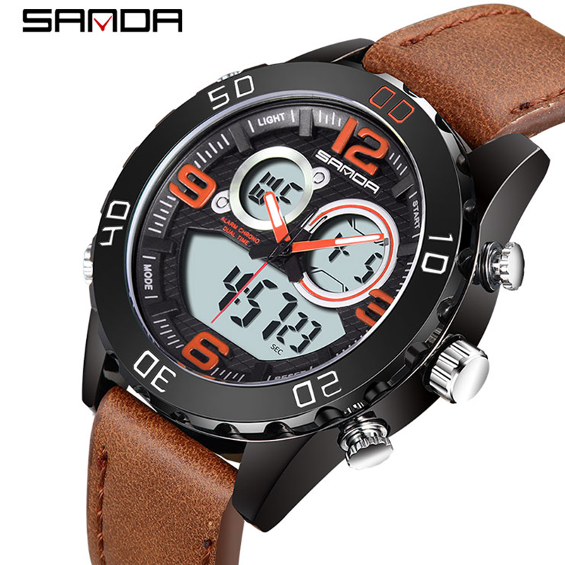 2018 SANDA Men's Fashion Sport Watches Men Quartz Analog Date Clock Man Leather Military Waterproof Watch Relogio Masculino 772 цена и фото