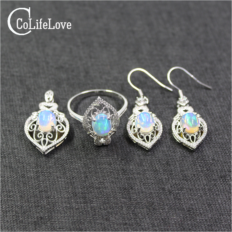 Dazzling opal jewelry set 8mm*10mm 100% natural opal ring drop earrings and necklace pendant set solid sterling silver jewelry artificial opal rhinestone necklace and earrings