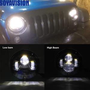 Image 2 - 1ไฟรถคู่Led H4 7นิ้วรถอุปกรณ์เสริมAngel Eyes H4 Ledไฟหน้าสำหรับJeep JK TJ Land Rover defender Lada Niva 4X4นักล่าUaz