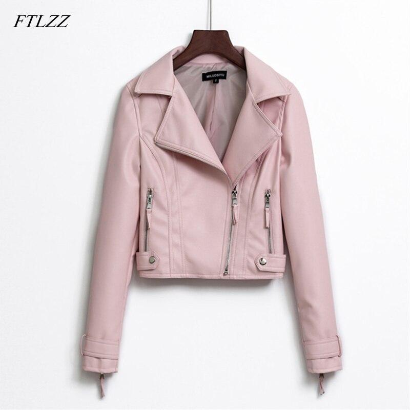 FTLZZ 2019 New Spring Autumn Pu   Leather   Jacket Women Short Slim Motorcycle Faux   Leather   Coat Clothing Female Outerwear Black