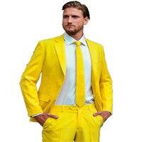 Новый Для Мужчин's Костюмы индивидуальный заказ Мода Жених Смокинги для женихов желтый One Button Нотч Для мужчин Костюмы мужской костюм (куртка
