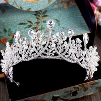 Barroca chispeante plata cristal gran corona del rhinestone boda diadema nupcial tiara partido show Pageant Hairband Accesorios de pelo