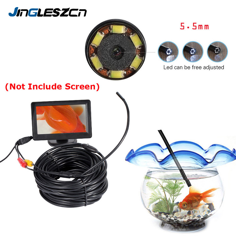 JINGLESZCN AV Endoscope Cam 5V 5 5mm Dia 1m 5m 10m 15m 20m Cable NTSC Waterproof