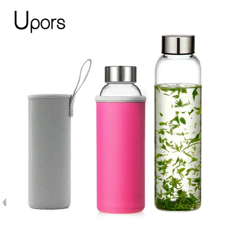 UPORS 280ml/360ml/550ml Glass Water Bottle Portable Sport Bottle with Stainless Steel Lid and Protective Bag Travel Drink Bottle|Water Bottles| |  - AliExpress